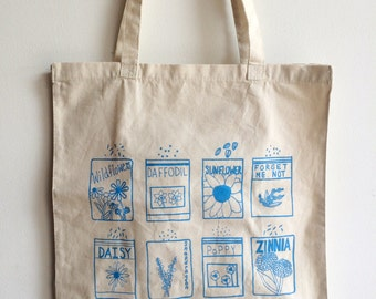 Market Tote, Flower Tote Bag, Screen Printed Cotton Reusable Bag