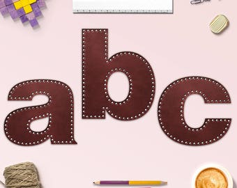 Lower Case Leather Alphabet Clipart, Leather Rivets, Brown Leather Letters, For Scrapbooking, Crafting, Invites & More, BUY5FOR8