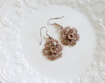 Tatted earrings, tatted lace, brown tatted lace, hook earrings, brown earrings, tatted jewelry, lace jewelry, gift idea, ready to ship