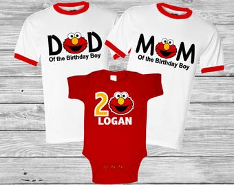 Personalized Elmo Monster Birthday Shirt Family Set 1st, 2nd , 3rd Birthday- Family set. Raglan Baseball or Regular T-shirts available