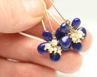 Lapis Lazuli Earrings Flower Earrings Dangle Earrings with Freshwater Pearl Clusters