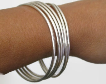 Stacking Bangle Hand Forged Solid Sterling Silver Stackable Bracelets