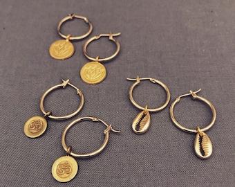 demi - petite charm hoop earrings