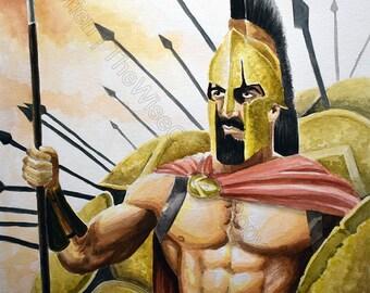 300 Spartan King Leonidas Watercolor - Digital Print