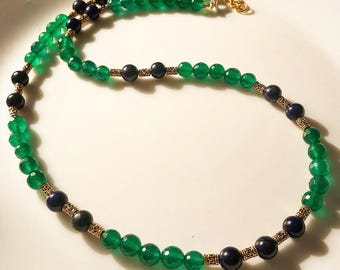 Emerald Green & Blue Mala with oxidized gold beads.