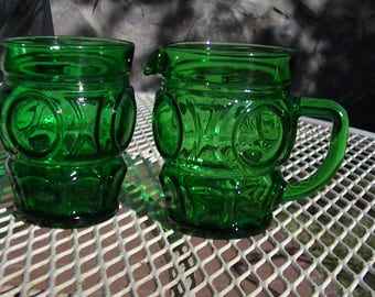 1970's Emerald Green Glass Sugar and Creamer Thumbprint Set