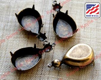 Oxidized 18x13 Tear Drop Pear Prong Setting Rhinestone SS20 Dual Jewel Mounting Close Back Case - 4 pcs