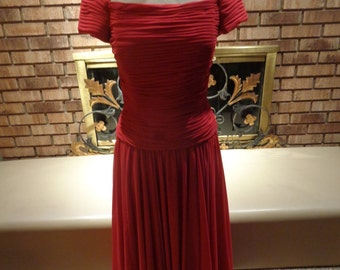 Vintage 90s Holiday Christmas Red Pleated Off The Shoulder Fit and Flare Evening Gown