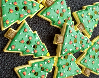 Store Closing - SEE SHOP ANNOUNCEMENT - Evergreen Christmas Tree Buttons - 1 inch - You Pick Quantity - 10 to 40
