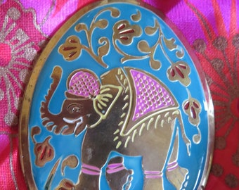 """Elephant PENDANT, Enameled BRASS in Pink and Blue, OVAL, 3"""" H, 2"""" W, No Chain, Vintage (#2J)"""