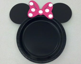 Minnie Mouse Birthday Party Dinner Plates hot pink bow set of 12