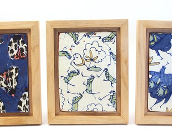 Small Wall Art | Framed Ceramic Art Tile | Wall Tile | Collage Wall Art | Home Decor | Handmade Folk Pottery | Wood Frame | Hostess Gift