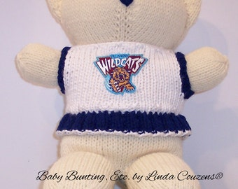 Bear, Villanova Wildcats, Cheerleader Bear, Baby Girl Bear, Baby Shower Gift, Birthday Gift, Keepsake Bear, Souvenir Bear