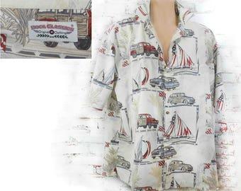 classic car shirt, button up car shirt men -novelty print shirt - unique men's shirt -men's button up shirt ,Men's summer shirt - # 20