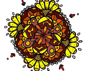 Flowery ~Coloring Page