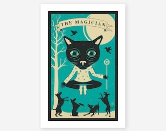 TAROT CARD CAT (Giclée Fine Art Print/Photo Print/Poster Print) The Magician