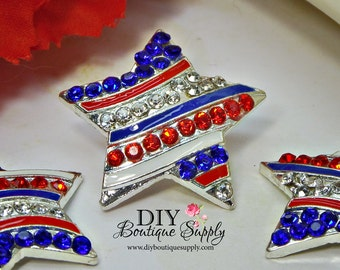 July 4th Star Rhinestone buttons RED WHITE BLUE Fourth of July Crystal Embellishment Flatback for Headband flower centers 27mm 918025