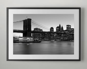 New York - Brooklyn Bridge and Lower Manhattan Home Decor, Wall decor, Home Wall decor, Office Wall decor, Fine Art Photography
