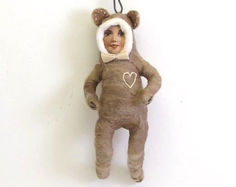 Spun Cotton Vintage Inspired Bear Boy with a Heart Ornament (MADE TO ORDER)