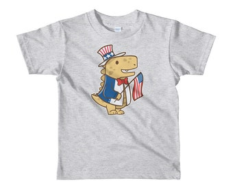 Kids 4th of July Dinosaur Shirt, Boys and Girls July Fourth Tee, Short sleeve kids and toddlers t-shirt