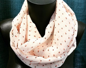 Snood salmon pink veil for women, mid-season
