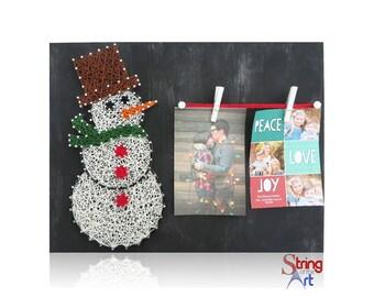 DIY String Art Kit - String Art Snowman, String Art Picture Frame, Picture Frame, Snowman Picture Fram, DIY Kit, DIY Crafts, w/ all supplies