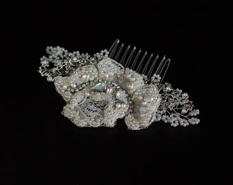Bridal hair piece, Lace headpiece, Wedding Hair comb, Bridal headpiece, Crystal hair comb, Pearl headpiece, Bridal hair accessories,
