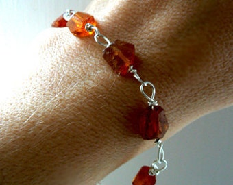 Raw Hessonite garnet bracelet- Orange rough gemstone bracelet- Raw garnet sterling silver bracelet- Stone boho jewelry-Women bracelet