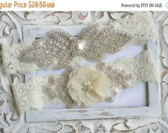 ON SALE Wedding Garter Set,  Bridal Garter Set, Lace Garter, Rhinestone Garter, Crystal Garter, Pearl Wedding Garter Belt,Style  -GR 520