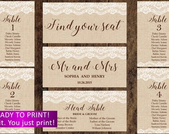 Lace  burlap Wedding seating chart cards printable personalized,rustic wedding seating chart cards cards,Wedding seating chart,rustic,29