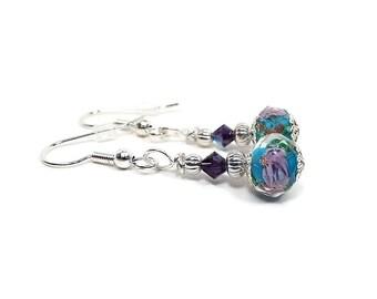Blue Purple Earrings, Flower Earrings, Rose Earrings, Floral Jewelry, Drop Earrings, Clip on Earrings Lever Back Hook
