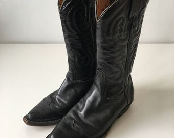 Vintage size 36 made in Italy vero cuoio cowboy black leather quality boots calf length southwestern western rodeo cowgirl shiny embossed