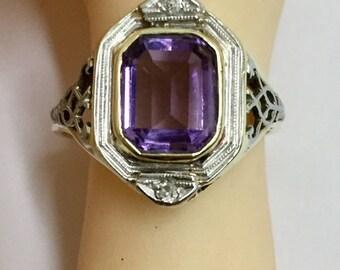 Vintage Art Deco 14k Diamond Amethyst Filigree ring