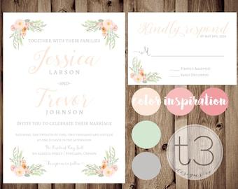 Vintage Wedding Invitation and Response card, Wedding invitation and rsvp card, floral wedding invite, rustic formal wedding, watercolor