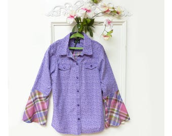 Girls shirt, size 10-12, bell sleeves, pink purple plaid, calico print, Boho, upcycled, sisters shirts, Childrens clothing, organic cotton