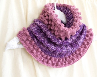 Multicolor Cowl in Purple and Lilac, Hand-knitted Winter Accessories, Bohemian Scarf