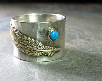 Feather Ring, turquoise ring, wide band, Sterling Silver, bird, feather, gemstone   - Wind Spirit