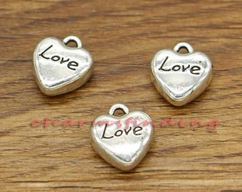 50pcs Heart Charms Tiny Mini Heart 3D Bulk Charms Love Word Charm Antique Silver Tone 12x13mm cf2206
