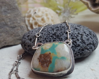 A River Runs Through It -- OOAK Royston Ribbon Turquoise Pendant -- Turquoise Pendant .925 Sterling Silver