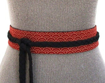 Mini Obi belt Red Sashiko - braided straps belt - japanese fabric 100% cotton - ajustable wrap belt