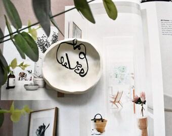 ABSTRACT clay ring dish   trinket dish   jewellery dish   jewelry dish   ring tray   ring holder   abstract decor   ring bowl   artsy decor