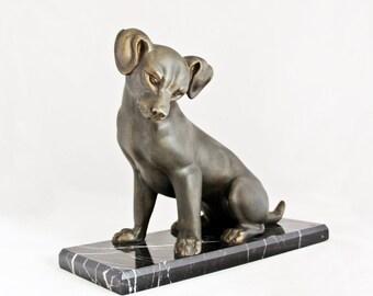 Vintage Bronze German Dog Puppy Figure Art Deco Dog Sculpture