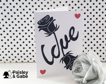 Handmade Wedding Day Card | Engagement Card | Roses | Monochrome Card | Card Cut | Envelope included | High Quality Card