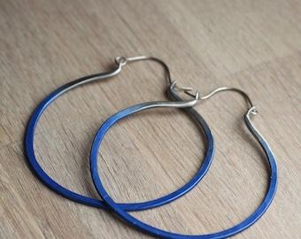 Large hoop earrings - Statement earrings - Titanium earrings - 0.8mm - Boho summer hoops - Blue ombre earrings - Big hoops - Lightweight