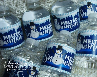 Melted Snowman Water Bottle Wrappers - Holiday, Christmas and Winter Themed Party for Class/School/Kids
