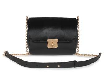 Leather Cross body Bag, Black Leather Shoulder Bag, Women's Leather Crossbody Bag, Leather bag KF-1489