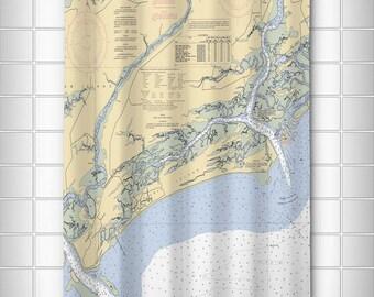 SC: Kiawah Island, SC Nautical Chart Shower Curtain, Map Shower Curtain