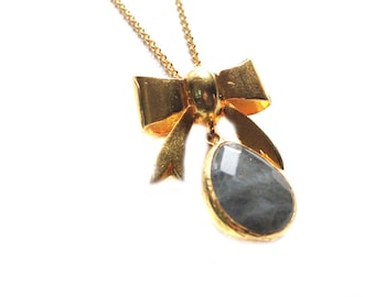 Bow with a Labradorite Drop Stone Earring
