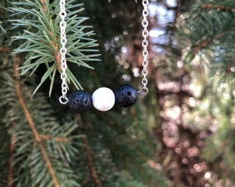3 bead howlite and lava stone necklace
