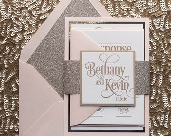 Blush & Gold Glitter Letterpress Wedding Invitation, Gold Glitter Wedding Invite, Blush Invitation - Sample Set